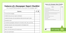 * NEW * KS2 Features of a Newspaper Report Checklist
