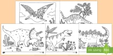 Dinosaur Themed Mindfulness Colouring Pages