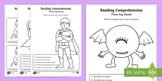 Reading Comprehension – Three Key Words Activity Sheet Pack
