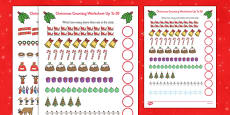 Counting at Christmas Activity Sheet Up to 20