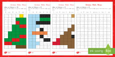 Christmas Maths Mosaic Activity Sheets