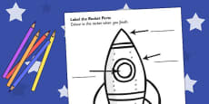 Space Rocket Labelling Sheet