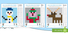 KS1 Winter Addition and Subtraction Mosaic Activity Sheets