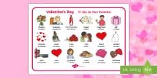 * NEW * Valentine's Day Word Mat - English / Spanish