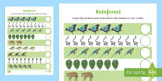 Rainforest Themed Counting Sheet