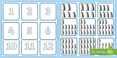 * NEW * Penguin Themed 1-20 Number and Quantity Matching Cards Activity Sheet
