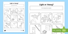ks1 heavier and lighter sorting worksheet teacher made. Black Bedroom Furniture Sets. Home Design Ideas