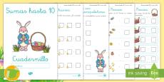 * NEW * Cuadernillo de matemáticas: Sumas hasta 10 - Edición Pascua