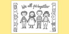 We All Fit Together Mindfulness Colouring Sheet