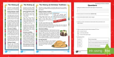 * NEW * LKS2 The History of Christmas Traditions Differentiated Reading Comprehension Activity