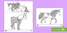 * NEW * Unicorn Mindfulness Colouring Pages English/Spanish