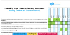 * NEW * KS1 Reading Exemplification Whole Class Assessment Spreadsheet