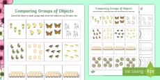 * NEW * Spring-Themed Comparing Groups of Objects Maths Worksheet