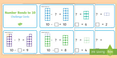 * NEW * Subtraction within 10 Number Shapes Challenge Cards Challenge Cards