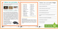 * NEW * Gefährliche Tiere und Insekten Leseverstehen Arbeitsblätter: Unterschiedliche Schwierigkeitsgrade