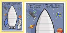 What Would I Take to Space Rocket Writing Frame