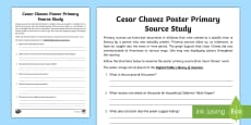 * NEW * Cesar Chavez Poster Primary Source Activity Sheet