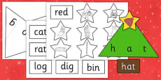 Christmas Tree CVC Words Activity