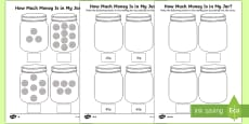 * NEW * KS1 How Much Money Is in My Jar? Counting in 10s Activity Sheets