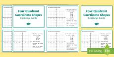 * NEW * Four Quadrant Coordinate Shapes Challenge Cards
