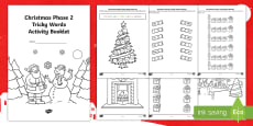 * NEW * Phase 2 Christmas Phonics Tricky Words Activity Booklet