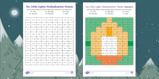 Ten Little Lights Multiplication Maths Mosaic Activity Sheets