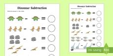 Dinosaur Themed Subtraction Activity Sheet