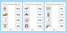 CVC Word and Picture Matching Activity Sheets Mixed