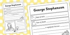 George Stephenson Significant Individual Writing Frame