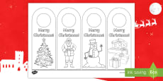 * NEW * Merry Christmas Door Hanger Colouring Page