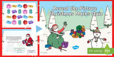 * NEW * KS1 Maths Reveal the Picture Christmas Quiz PowerPoint