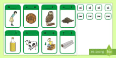 * NEW * Phase 3 Digraphs ow and oi Peg Matching Game