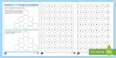 * NEW * Numbers in a Triangle Maths Investigation Activity Sheet