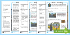KS1 Martin Luther King Differentiated Reading Comprehension Activity