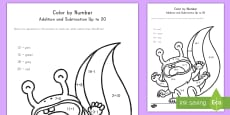 * NEW * Monsters Addition and Subtraction Up to 20 Color by Number Activity Sheet