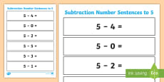 * NEW * Subtraction Number Sentences to 5 Worksheet