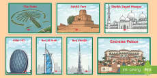 UAE Iconic Buildings Illustrations Photo Pack