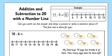 Addition and Subtraction to 20 with a Number Line Activity Sheet