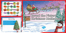 * NEW * LKS2 Maths Reveal the Picture Christmas Quiz PowerPoint