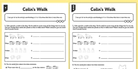 Differentiated Colin's Walk Activity Sheet