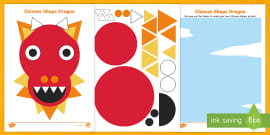 * NEW * Chinese Dragon 2D Shape Activity Sheets
