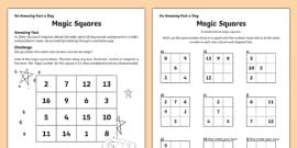 Magic Squares Worksheet (teacher made)