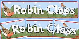 Robin Themed Classroom Display Banner