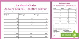Briathra Neamhrialta Aimsir Laithreach Worksheet Gaeilge Worksheet