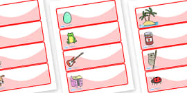 Editable Drawer - Peg - Name Labels (Set 1) - Red