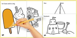 T T Seaside Trip Colouring Sheets