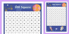 Space Themed 100 Number Square