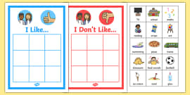 All About Me 'I like' and 'I don't like' Sorting Activity