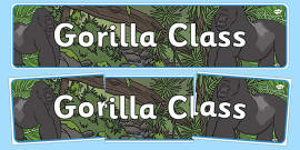 Gorilla Themed Classroom Display Banner