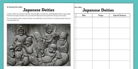 Japanese Deities Activity Sheet
